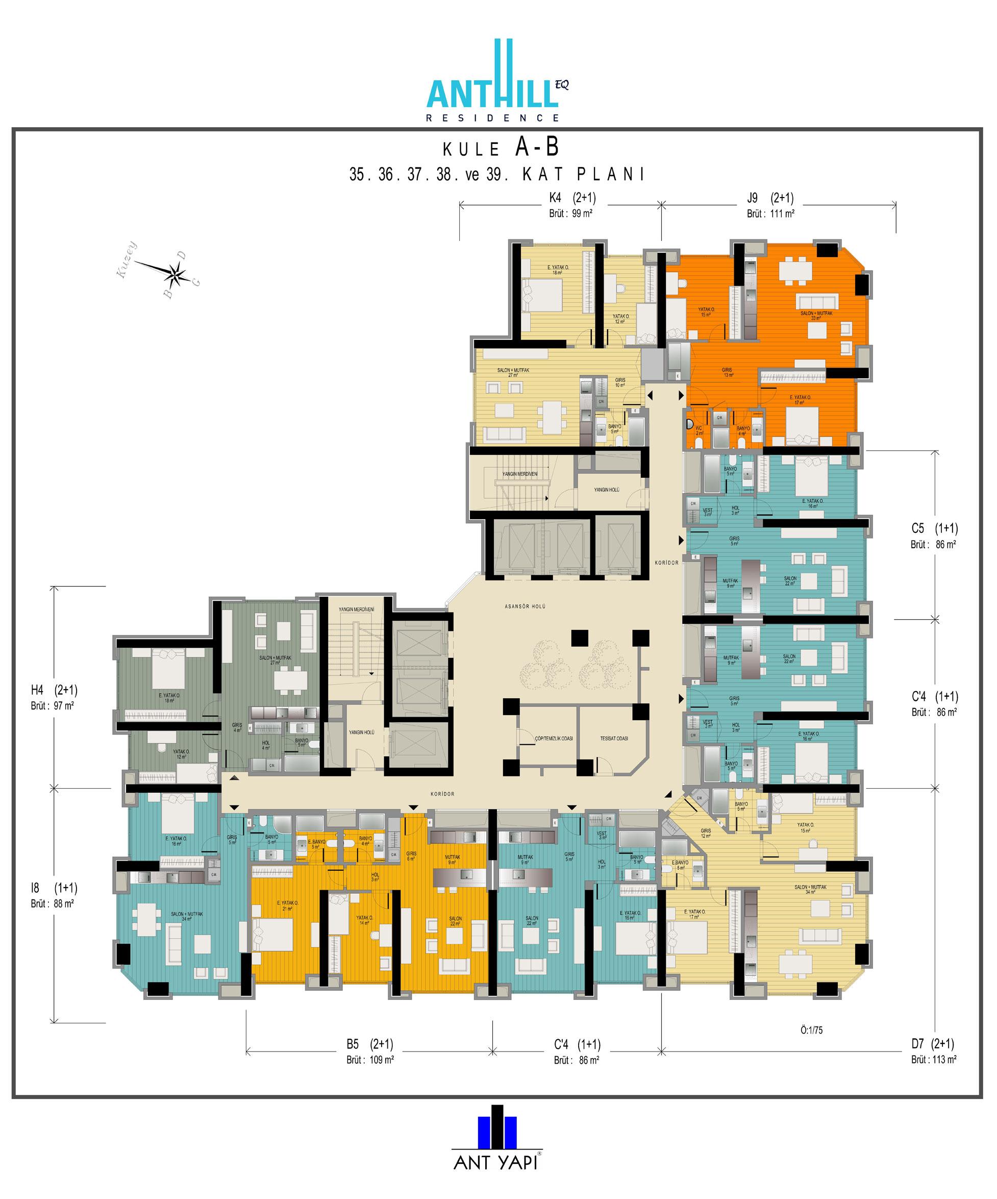 Anthill Residence | Daire Planları